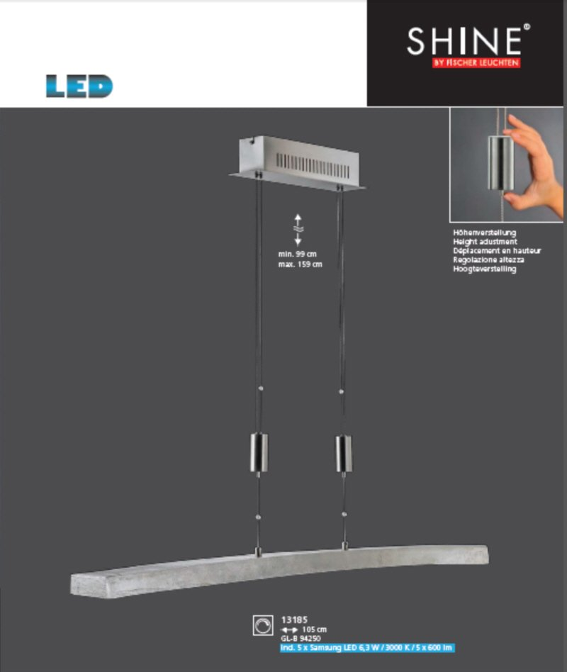 shine alu no 13185 pendel 5 flammig led nickel antik nickel matt eur 558 60 leuchten. Black Bedroom Furniture Sets. Home Design Ideas
