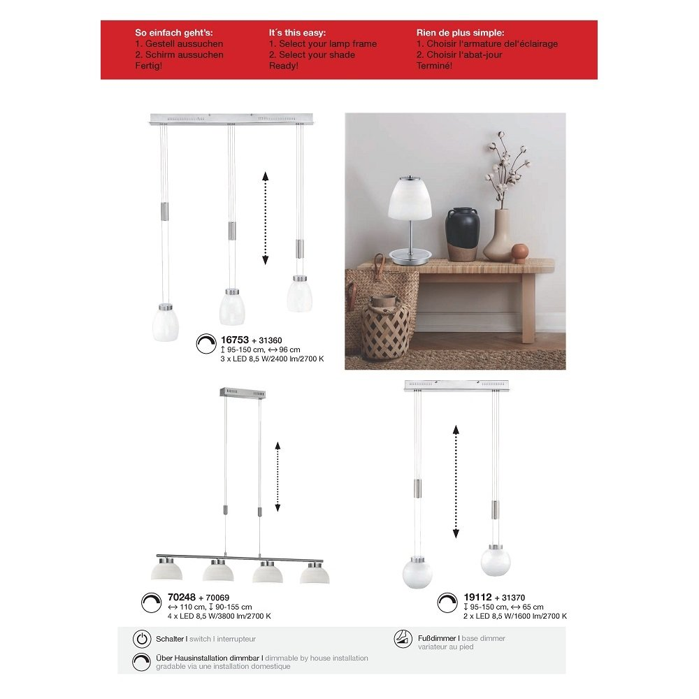 fischer m6 medium1 led no 16753 pendel 3 flammig led. Black Bedroom Furniture Sets. Home Design Ideas