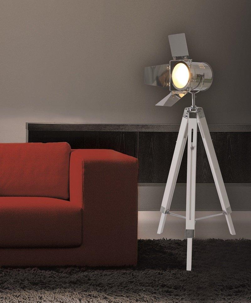 n ve leuchten no 2055323 n stehleuchte vintage dreibein holz wei chrom eur 94 27. Black Bedroom Furniture Sets. Home Design Ideas