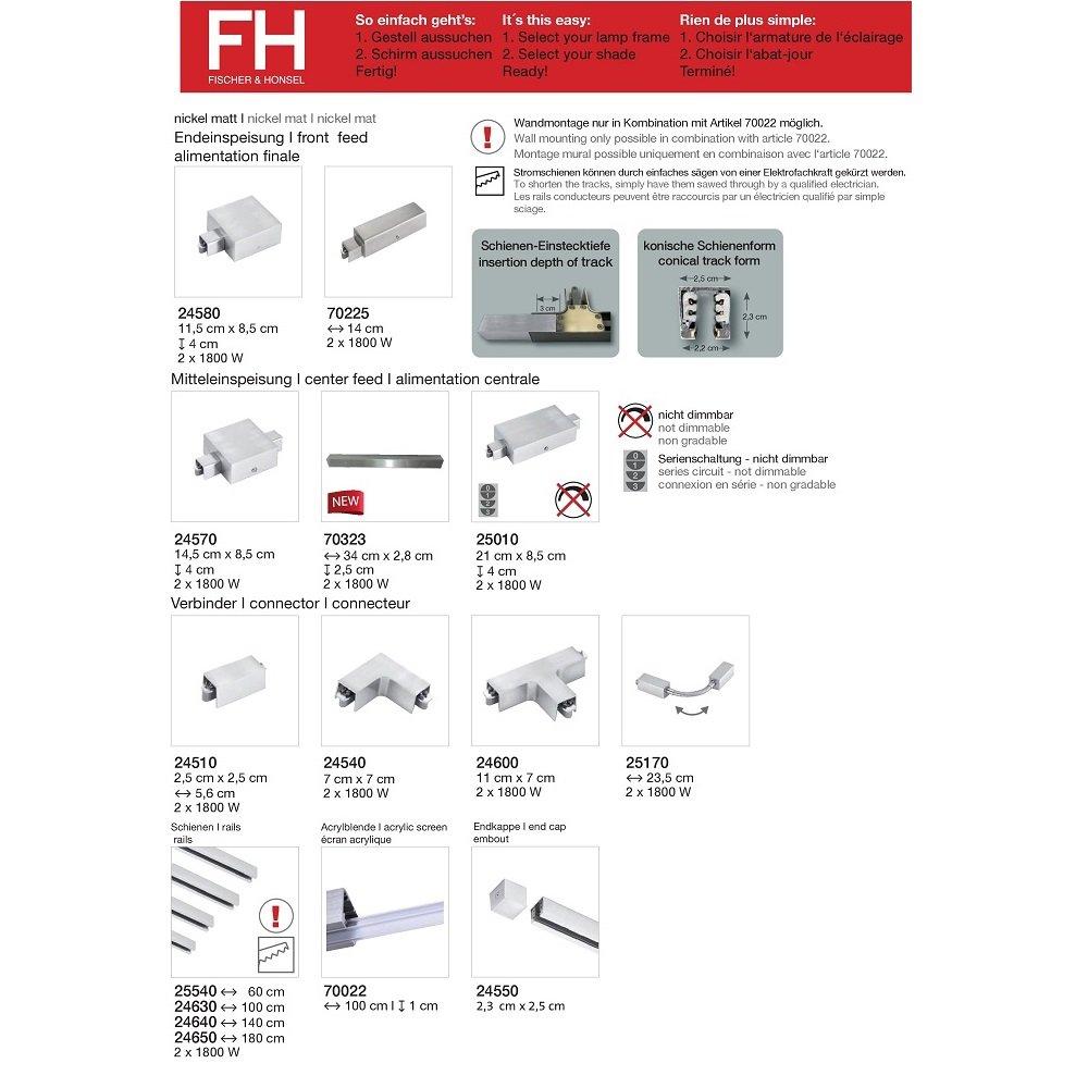 fischer m6 hv track 4 no 25010 stromschienen mitteleinspeisung nickel matt eur 144 90. Black Bedroom Furniture Sets. Home Design Ideas