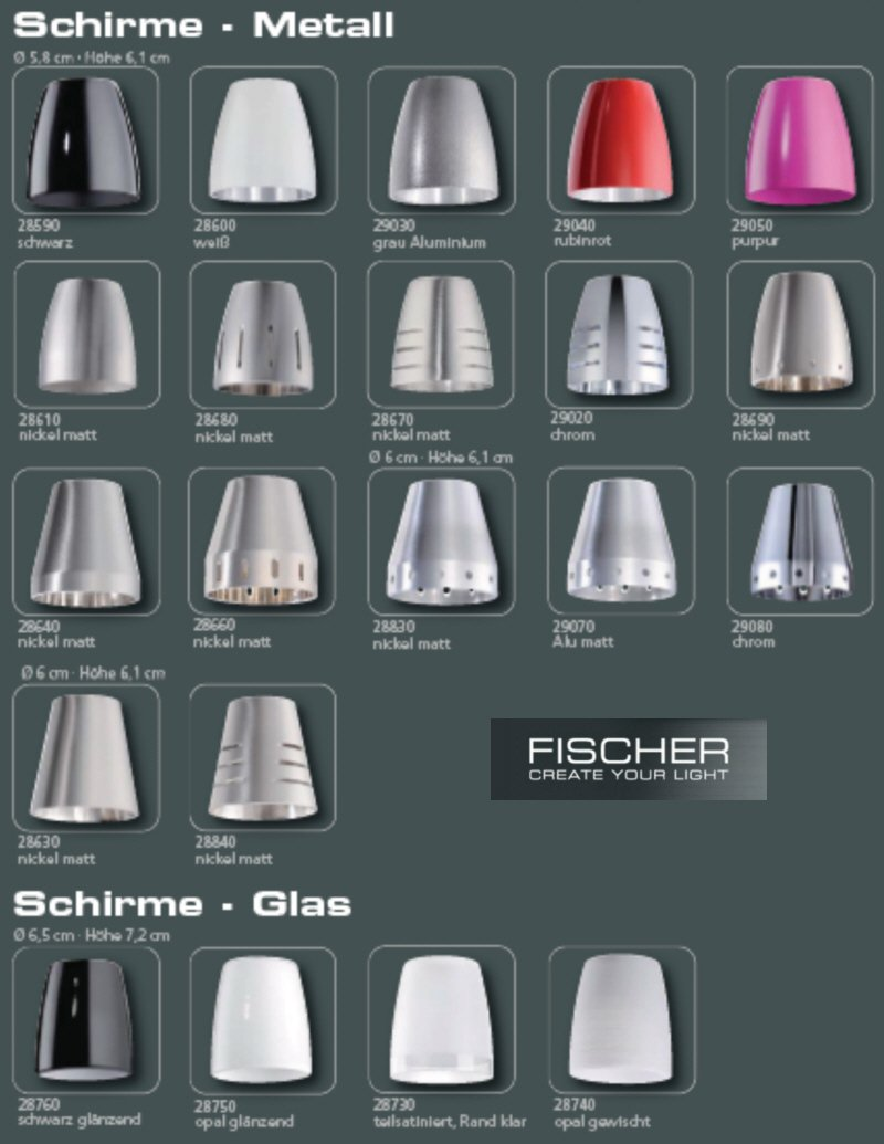 fischer m6 spot 18 no 29030 metallschirm grau aluminium. Black Bedroom Furniture Sets. Home Design Ideas