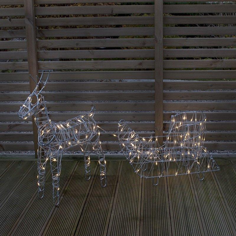 Weihnachtsbeleuchtung Rentier Beweglich.Led 3d Rentier Sarve Mit Schlitten Nr 802 97
