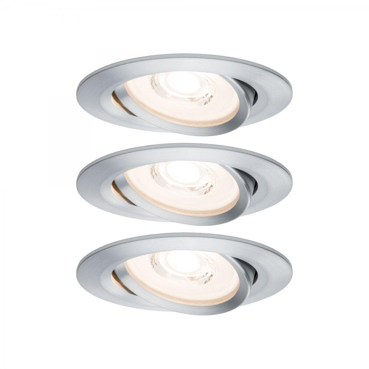 paulmann no 93943 led einbauleuchten set reflector coin dimmbar 6 8w alu gedreht 3er set. Black Bedroom Furniture Sets. Home Design Ideas