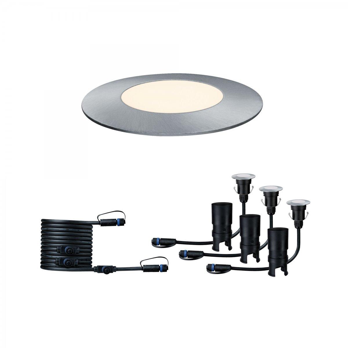 Paulmann No 93949 Plugshine Bodeneinbauleuchte Floor Mini Ip65 Warmweiß 25w Silber
