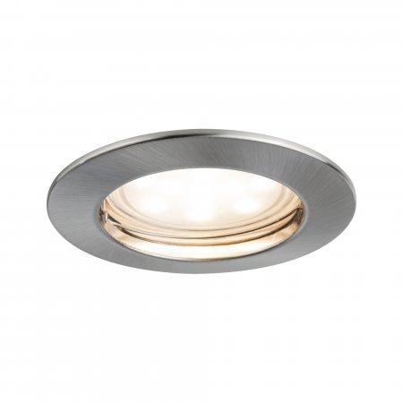 Paulmann No. 93975 LED Einbauleuchte Coin rund 6,8W, Eisen gebürstet, 1er Set IP44