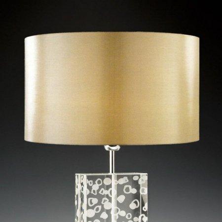 Lampenschirm Edition Glas Kristall D3 Rund Gold Trommelförmig Seide